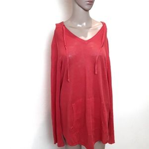 Eileen Fisher | Linen coral hooded long sleeve